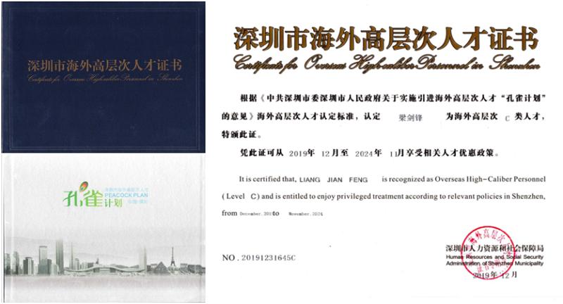 深圳市海外高层次人才证书